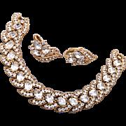 1963 Trifari Bracelet and Earrings Set - Book Piece