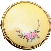 SALE Yellow Guilloche Enamel Compact