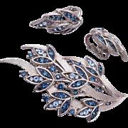 Trifari Blue Rhinestone Leaf Brooch and Earring Set