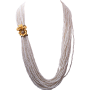 20 Strand White Glass Beaded Necklace