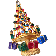 Warner Red and Green Christmas Tree Brooch