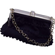 Black Purse with Lucite Handle