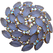 Blue / Gray Frosted Unfoiled Rhinestone Brooch