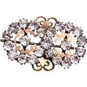 Gold Filled Rhinestone Brooch