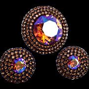 Weiss Topaz Rhinestone Earrings and Brooch
