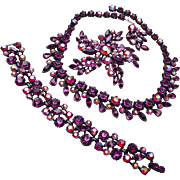 Claudette Red and Purple Rhinestone Set