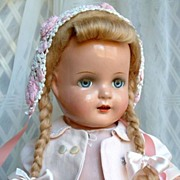 "SOLD Arranbee ""NANCY"" COMPOSITION Doll Original Mohair Wig, Open-Mouth With Teeth, B"