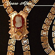 SOLD MAGNIFICENT Carved CAMEO Antique Victorian Necklace BOOKCHAIN Gold Filled Engravings & Re