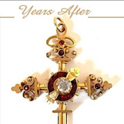 SOLD MAJESTIC Antique Victorian CROSS  Bohemian Garnet, Rock Crystal RELIGIOUS Symbolism c.187