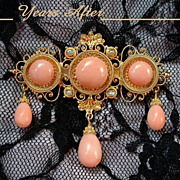 SOLD REGAL 14K GOLD Antique Victorian CORAL Brooch Seed Pearl with Drops, Etruscan Revival c.1
