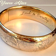 SOLD Signed H&H Antique VICTORIAN Bangle Bracelet Gold Filled Lily Flower Engravings DATED 190