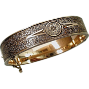 SOLD 10K GOLD Sterling Antique BANGLE Bracelet Taille d'Epargne FLOWERS Fine Scrollwork Safety