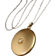 SOLD 14K Gold DIAMOND Antique VICTORIAN Locket Original Insert Frames Celluloid Covers 21""