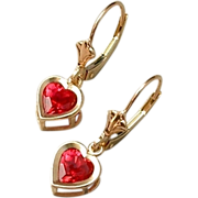 SOLD Vintage Genuine 10K Gold RUBY Heart EARRINGS Drops Dangles Leverbacks Crown Tops SIGNED H