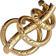 SALE PENDING Antique Victorian LOVE KNOT Brooch ETERNAL Lovers Repousse Flower Scrollwork Sham