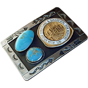 SIGNED Vintage IRONWORKERS Sterling Silver Native American TURQUOISE Belt BUCKLE Hand Stampings Iron Workers 97.5 Grams c.1960's