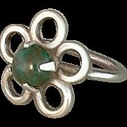 Vintage NATIVE American Sterling Navajo Ring BLOODSTONE Gemstone Handcrafted Flower Motif Size 6 c. 1960s