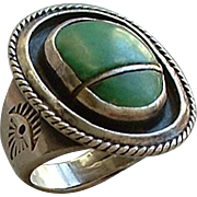 SOLD Vintage Native American OLD PAWN Navajo RING Turquoise STERLING Silver Scarab Shadow Box