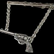 Vintage MEN'S Sterling Gun Pistol Tie CLIP Bar Clasp Mechanical Charm MOVABLE Cylinder Scrolls c.1980's