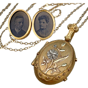 SOLD Antique VICTORIAN Etruscan LOCKET Dated PROVENANCE Love Notes Tintype Photographs Memento