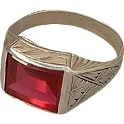 SALE Genuine 10K GOLD Art Deco Ring RUBY Spinel Engravings Size 9 Hallmark c.1920s