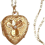 SALE 14K GOLD Antique HEART Shape Victorian LOCKET Seed Pearl, Shamrock, Rock Crystal Covers,