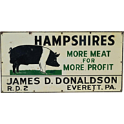 Porcelain Metal Advertising  Two Sided Pig Sign
