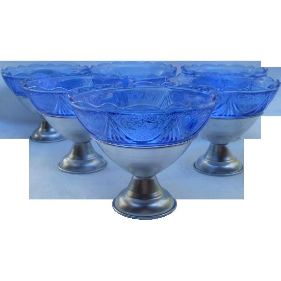 Hazel Atlas Set of (6) Cobalt Blue Royal Lace Sherbets in Metal Holders