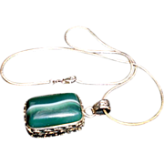 Sterling Silver Necklace Malachite Pendant