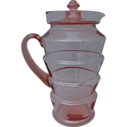 Dunbar Flint Pink Depression Glass Pitcher & Lid