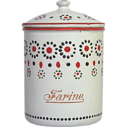 Fun French Flour Canister - Enamel - Early 1900s