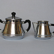 REDUCED Mid Century French -Chrome Sugar Bowl and Creamer Set