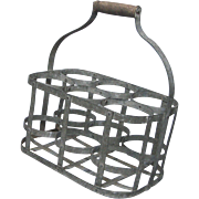 Very Vintage French Metal Wine Bottle Carrier - Wine Caddy