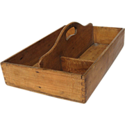 SOLD French Wooden Box / Tray - Utensils / Tools / Carry All