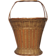 French Woven Reed Embroidery Basket