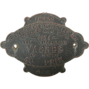 SOLD French Agricultural 4th Place Award Plaque for Cows - 1934