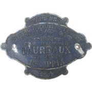 SOLD French Agricultural 1st Place Award Plaque for Bulls - 1935