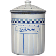 Very Vintage French Enamel Flour Canister