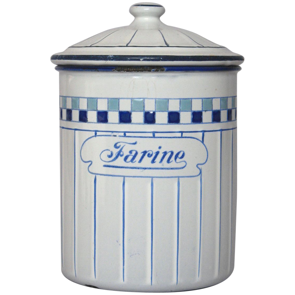 very vintage french enamel flour canister from
