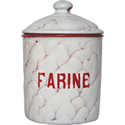 Red Chicken Wire Enamel French Four Canister