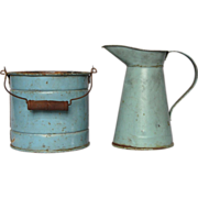 SOLD Toy Tin Pitcher and Bucket Set - Doll / Child Size