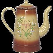 SALE Splendid Hand-Painted French Enamel Coffee Pot