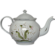 SOLD Reserved : Art Nouveau Inspired Floral Design Granite Ware Teapot