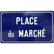 """SOLD French Enamel Street Sign - """"Market Place"""""""