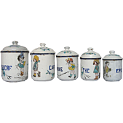 SOLD RARE Hand-Painted Design - French Enamel Graniteware Canister Set