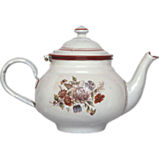 SOLD RESERVED - French Floral - Graniteware Teapot -early 1900s