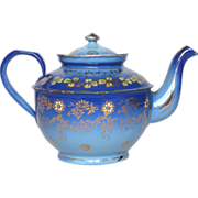 SOLD Early French Graniteware Enamel Tea Pot - Hand-painted detailing