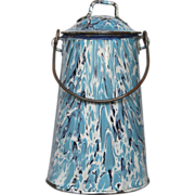 SOLD RESERVED - Early End of Day Blue Swirl French Enamel Milk Carrier