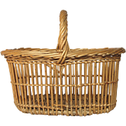Vintage French Wicker Market Basket - Small Size