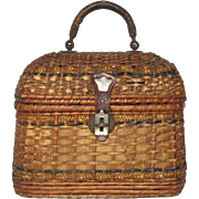 SOLD Woven French Petite Hand Bag - early 1900s